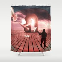surrealism Shower Curtains featuring surrealism  by mark ashkenazi