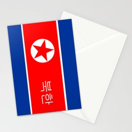 north korea country flag korean name text Stationery Cards