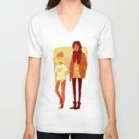 snk V-neck T-shirts featuring Ymir and Historia by rhymewithrachel