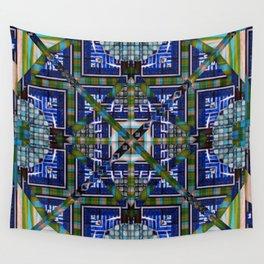 number 138 green blue aqua pattern Wall Tapestry