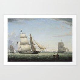 Fitz Henry Lane , Brig  Antelope in Boston Harbor, Art Print