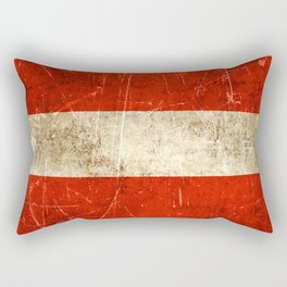 Vintage Aged and Scratched Austrian Flag Rectangular Pillow