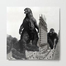 Godzilla and King Kong Visit The Flat Iron Building Metal Print