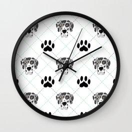 Merle Great Dane Paw Print Pattern Wall Clock