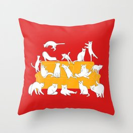 Cute cats on the yellow sofa Throw Pillow