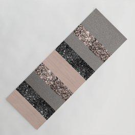 Blush Glitter Glam Stripes #1 #shiny #decor #art #society6 Yoga Mat