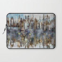 Reflections on foggy lake digital art Laptop Sleeve