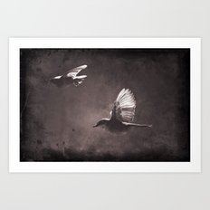 caught on a flight Art Print