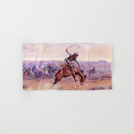 """Bucking Bronco"" by Charles M Russell Hand & Bath Towel"