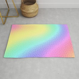"Curvy Pastel Rainbow ""Glass Tiles"" Design Rug"