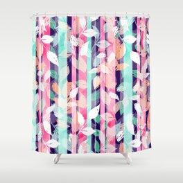 Cute Violet foliage brush paint design Shower Curtain