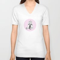 shih tzu V-neck T-shirts featuring A Decapitated Anne Boleyn & Shih-tzu by twmmorgan