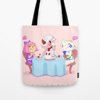 animal crossing Tote Bags featuring Animal Crossing :: Cake time by Magnta