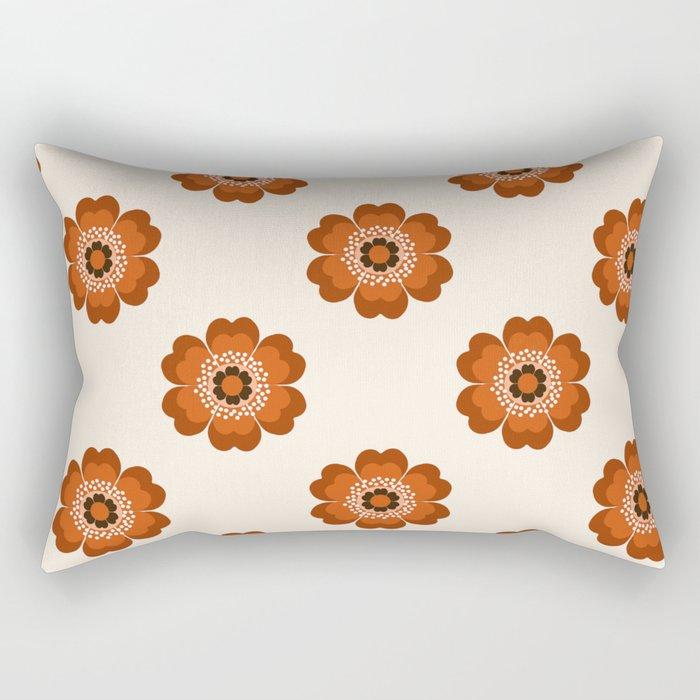 Retro floral flowers pattern minimal 70s style pattern print 1970's Rectangular Pillow