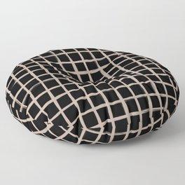 Strokes Grid - Nude on Black Floor Pillow