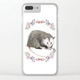 Opossum in Floral Wreath Clear iPhone Case