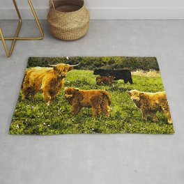 Highland Cows with Calves  Rug