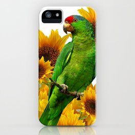 GREEN PARROT  & YELLOW SUNFLOWERS WHITE ART iPhone Case