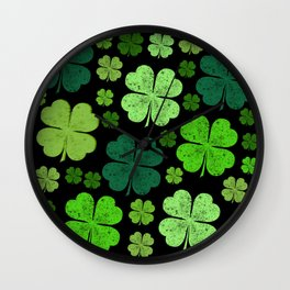 Saint Patrick's Day, Four Leafed Clovers - Green Wall Clock
