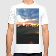 710 Lights White Mens Fitted Tee MEDIUM