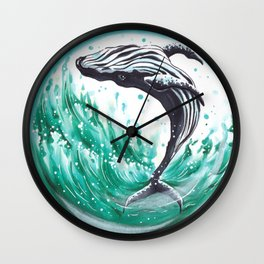 Whale in the bubble Wall Clock