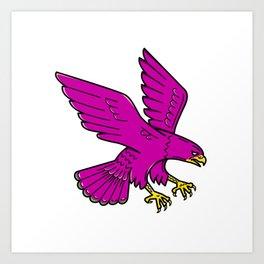 Peregrine Falcon Swoop Mono Line Art Print