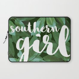 Southern Girl, Southern Magnolia Leaves, Dark Green Laptop Sleeve