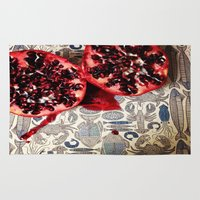 pomegranate Area & Throw Rugs featuring Pomegranate  by Carey Lee Designs