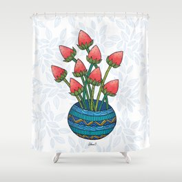 Strawberry Flowers Shower Curtain