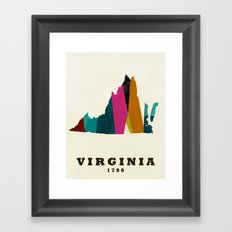 Virginia state map modern Framed Art Print