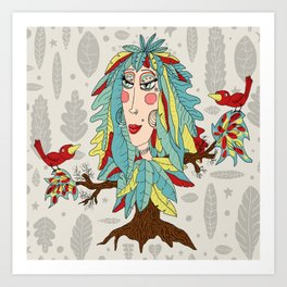 quirky bohemian boho tree, leaves and feather fantasy woman / girl Art Print