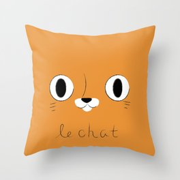 Le Chat (Orange) Throw Pillow