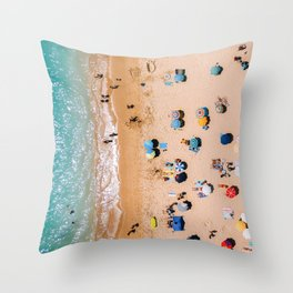 People On Algarve Beach In Portugal, Drone Photography, Aerial Photo, Ocean Wall Art Print Throw Pillow
