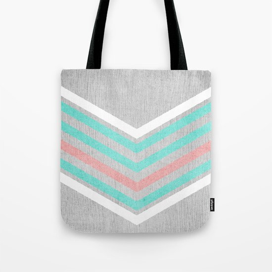 Teal, Pink and White Chevron on Silver Grey Wood Tote Bag