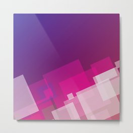 Gradient Blue, Pink and White Tilted Squares Metal Print