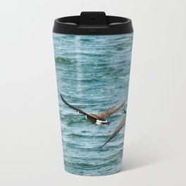 Pair of Canadian Geese Flying Away Metal Travel Mug