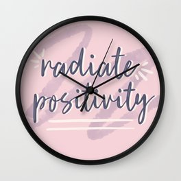 "Pink & Purple Watercolor ""Radiate Positivity"" Quote Wall Clock"
