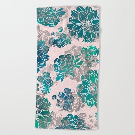 Flower Pattern Design #4 Beach Towel