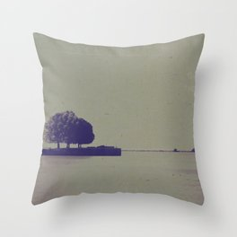 The trees at the end of the pier Throw Pillow