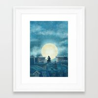 kindle Framed Art Prints featuring Rooftoppers by Terry Fan