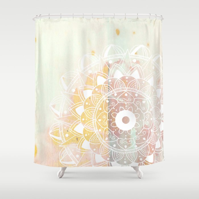 Delicate white mandala on pink Shower Curtain by quickpoet   Society6