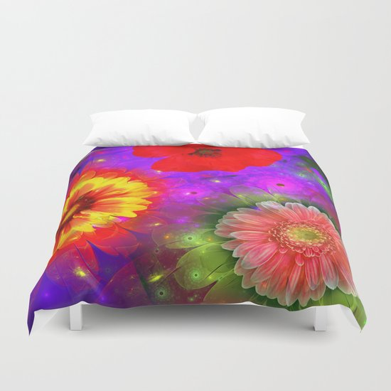 Summer flowers in a colourful fantasy garden Duvet Cover