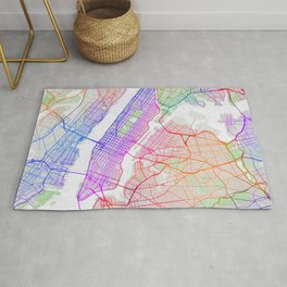 New York City Map of the United States - Colorful Rug