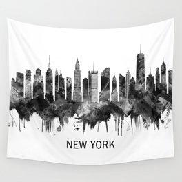 New York City Skyline BW Wall Tapestry