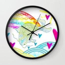 koi rainbow Wall Clock