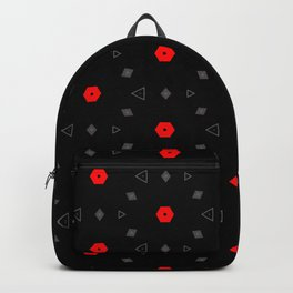 Red Grey Black Multi Pattern Backpack
