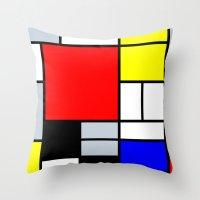 mondrian Throw Pillows featuring Mondrian by Dizzy Moments