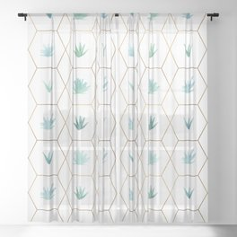 Geometric Succulents Sheer Curtain