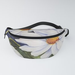 CLASSIC WHITE DAISIES in WATERCOLORS Fanny Pack