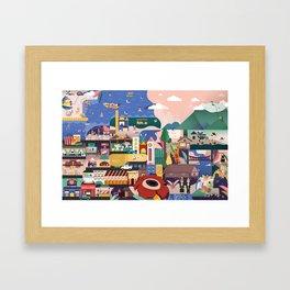 Kota Kinabalu Map Illustration Framed Art Print
